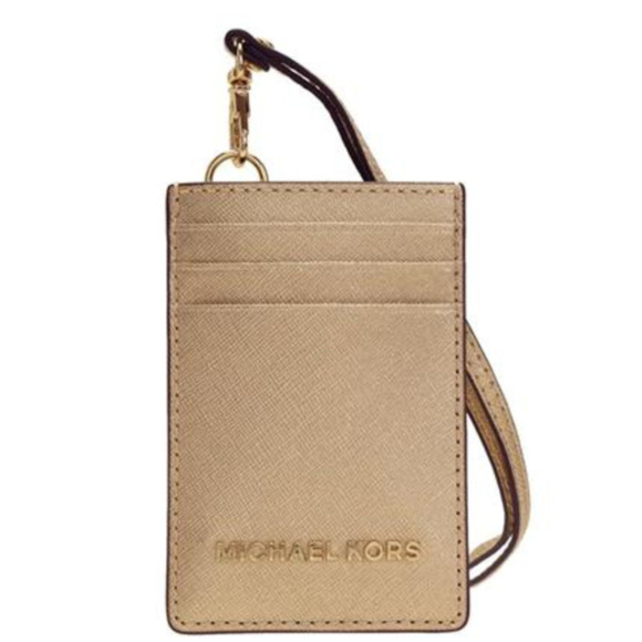 17bf04484227 Michael Kors Lanyard ID Card Case - Pale Gold